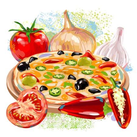 Illustration pour Pizza aux légumes sur des taches colorées de peinture grunge - image libre de droit