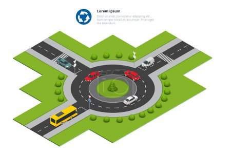 Roundabout, cars, roundabout sign and roundabout road. Asphalted Road Circle. Vector isometric illustration for infographics. City traffic.