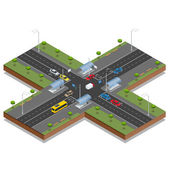 Crossroads and road markings isometric vector illustration Transport car urban and asphalt traffic Crossing Roads Road Intersection with pedestrian subway