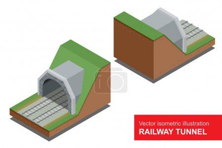 Vector isometric illustration of  railway tunnel. A railway level crossing, with barriers closed and lights flashing.