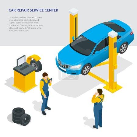 Car repair service center. Tire service flat set with shop car repair mechanics. Flat 3d isometric vector illustration.