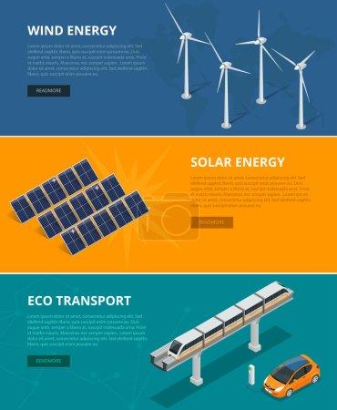 Illustration pour Les milieux Web sources d'énergie écologiques telles que les éoliennes, les panneaux solaires, le transport écologique. Dispositifs écologiques de production d'électricité renouvelable à émissions faibles et nulles - image libre de droit