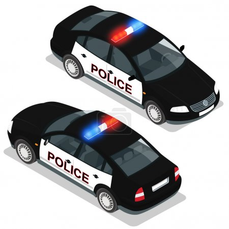 Flat 3d isometric high quality city service transport icon set. Police car. Build your own world web infographic collection. Set of the flat isometric police car  with front and rear views