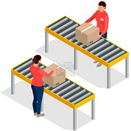 Illustration pour Emballage de marchandises ouvrières avec des boîtes à la ligne d'emballage dans l'usine. Travailleurs dans l'entrepôt Préparer des marchandises pour l'expédition. Illustration vectorielle isométrique 3D plate . - image libre de droit