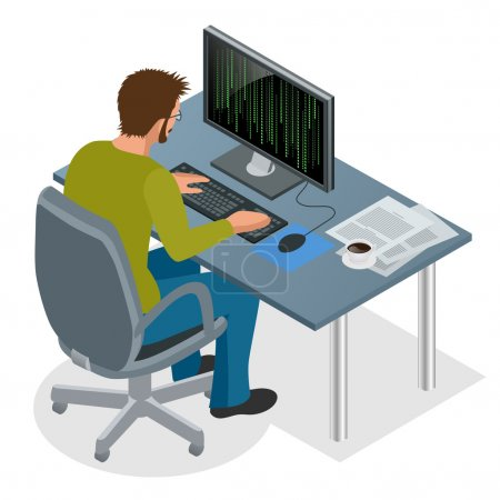 Developer Using Laptop Computer. Web Development concept. Web programming concept. Programming, coding, testing, debugging, analyst, code developer flat 3d isometric vector illustration