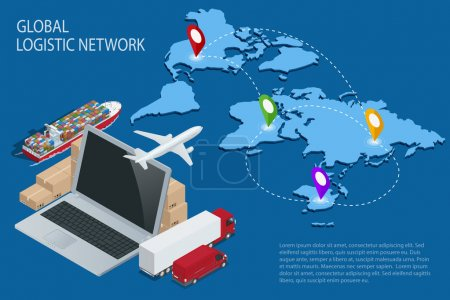 Illustration for Global logistics. Global logistics network. Logistic isometric concept. Logistic Insurance. Ship cargo concept. Logistic international trade. Customs clearance Documentary support international trade - Royalty Free Image