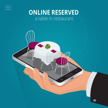 Online reserved table in restaurant.  Concept Reserved in cafe. Flat 3d isometric vector illustration.