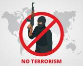 No terrorism Stop terror sign anti terrorism campaign badge on world map Flat 3d illustration