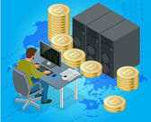 Flat 3d isometric man on computer online mining bitcoin concept Bitcoin mining equipment Digital Bitcoin Golden coin with Bitcoin symbol in electronic environment