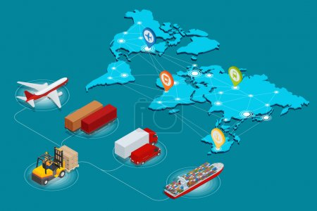 Illustration for Global logistics network Web site concept Flat 3d isometric vector illustration Air cargo trucking rail transportation maritime shipping On-time delivery - Royalty Free Image