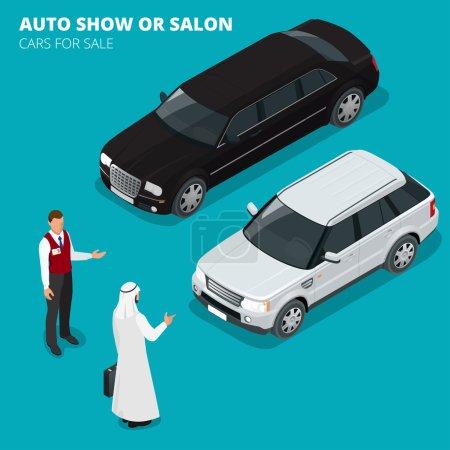 Illustration pour L'homme d'affaires arabe choisit la voiture de luxe. Illustration isométrique vectorielle 3D plate. Voitures à vendre. Entreprise automobile, vente de voitures et concept de personnes. Salon de l'auto ou salon - image libre de droit