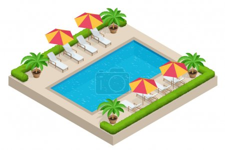 Summer travel concept.  Swimming pool, parasol umbrella, beach chairs. Swimming pool Flat 3d isometric vector illustration.