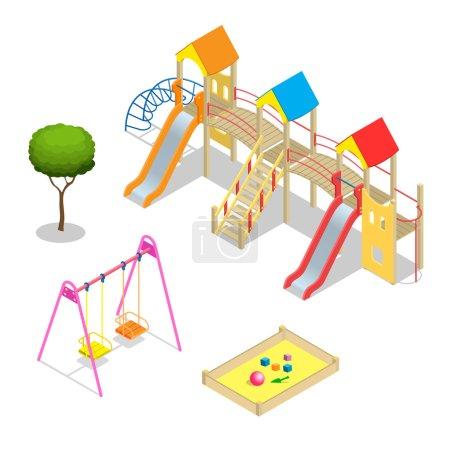 Playground. Playground slide theme elements. Isometric kids playground icons set. Flat 3d vector isometric high quality playground icon set