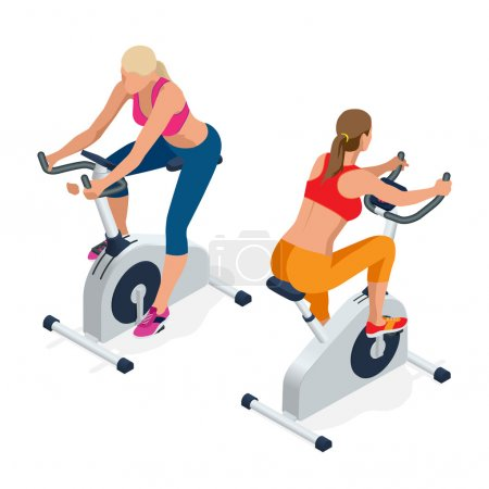 Fitness woman working out on exercise bike at the gym. Isolated on white background. Doing sport biking in the gym for fitness. Flat 3d isometric vector illustration.