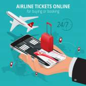 Airline tickets online Buying or booking Airline tickets Travel business flights worldwide Online app for tickets order Internation  flights Flat 3d isometric vector illustration Boarding pass
