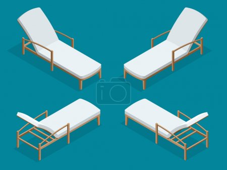 Beach chairs isolated on blue background. Wooden beach chaise longue Flat 3d isometric vector illustration.