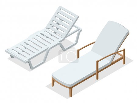 Beach chairs isolated on white background. Wooden beach chaise longue Flat 3d isometric vector illustration.