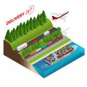 Logistics network  Aair cargo trucking rail transportation maritime shipping cargo trucs Ontime delivery Vehicles designed to carry large numbers cargo Flat 3d isometric vector illustration