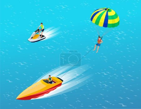 Man parasailing with parachute behind the motor boat. Creative vacation concept. Water Sports. Parachute sailing, Fun in the ocean, Extreme Sport on beach. Flat 3d vector isometric illustration.