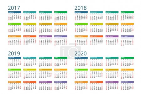 Calendar for 2017, 2018, 2019, 2020. Week Starts Sunday. Simple Vector  design.
