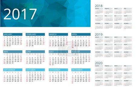 Calendar for 2017, 2018, 2019, 2020. Week Starts Sunday. Simple Vector  design.