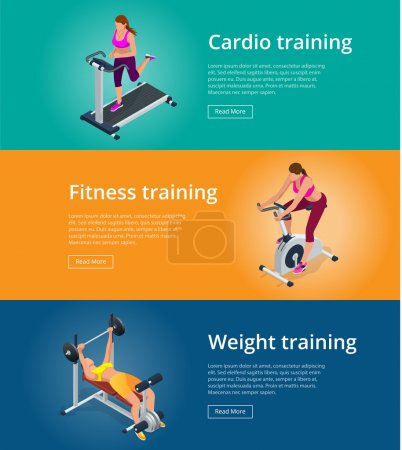 Banner set Fitness woman working out on exercise bike, Young woman with barbell flexing muscles, Pretty girl working out in a treadmill at the gym. Flat 3d isometric vector illustration