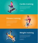 Banner set Fitness woman working out on exercise bike Young woman with barbell flexing muscles Pretty girl working out in a treadmill at the gym Flat 3d isometric vector illustration