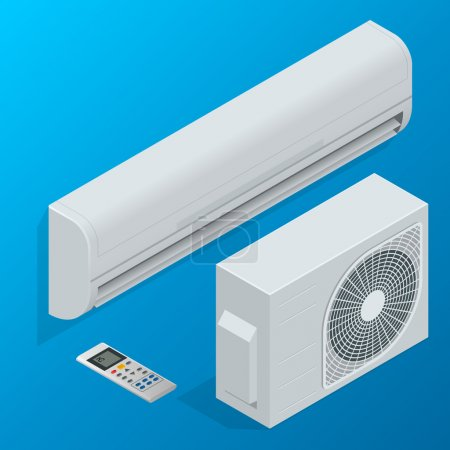 Air conditioner system set isolated on background. Flat 3d isometric vector illustration