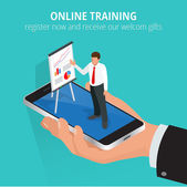 Education concept online training Flat isometric design concepts for online education online training courses staff training retraining specialization university tutorials