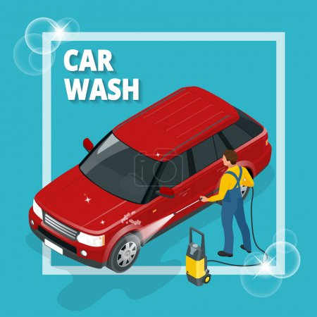 Business concept car wash. Car wash, auto cleaner, washer shower service banner. Flat 3d vector isometric illustration.