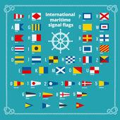International maritime signal flags Sea alphabet Flat vector illustration