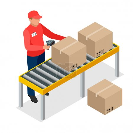 Warehouse manager or warehouse worker with bar code scanner checking goods on storage racks. Stock taking job. Flat 3d vector isometric illustration.