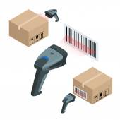 The manual scanner of bar codes Flat 3d vector isometric illustration