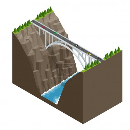 Bridge over the river in the mountains. Bridge construction flat isometric vector illustration.