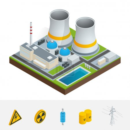 Illustration for Vector isometric icon, infographic element representing nuclear power station, reactors, power lines and nuclear energy generation related facilities. Industrial landscape - Royalty Free Image