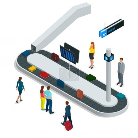 Illustration for Suitcase on luggage conveyor belt in the baggage claim at airport. Flat 3d vector isometric illustration - Royalty Free Image