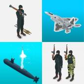 Isometric icons submarine aircraft tanks soldiers Flat 3d high quality military vehicles machinery transport