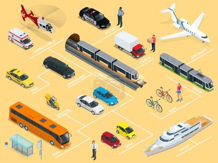 Flat 3d isometric high quality city transport car icon set