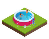 Isometric Portable plastic swimming pool