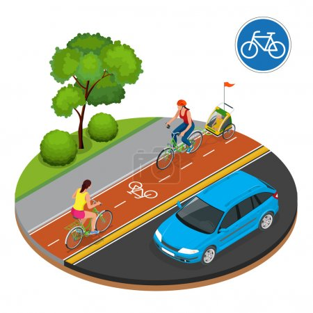 Illustration for Cyclists in city. Cycling on bike path. Bicycle road sign and bike riders. Flat 3d vector isometric illustration. People riding bikes. Fitness, sport, people and healthy lifestyle concept. - Royalty Free Image