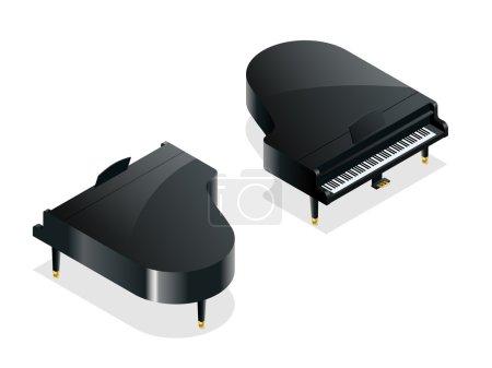 Isometric Black grand piano.