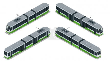 Flat 3d isometric illustration of a tram. Vehicles designed to carry large numbers of passengers