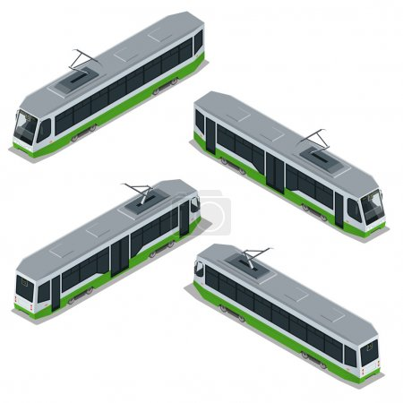 Illustration for Flat 3d isometric high quality city transport icon set. Vector Modern Tram - Royalty Free Image