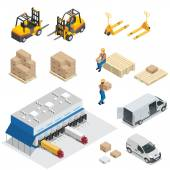 Set of Warehouse equipment Shipping and delivery flat elements Workers boxes forklifts and cargo transport Transport system delivery process Flat 3d Vector isometric illustration