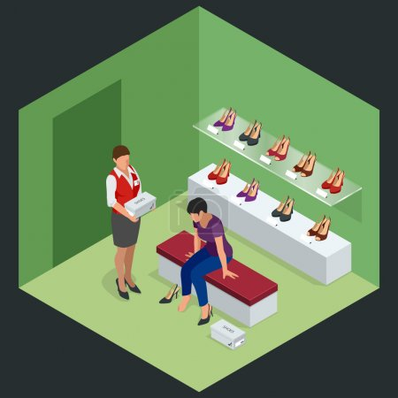Woman at shoe store. Young woman choosing shoes in a shoe store. Shoes stand high heels. Isometric vector illustration for infographics. Shoe store