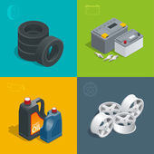 Tire service car auto repair icons flat 3d set isolated vector isometric illustration Consumables for car