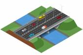 Isometric bridge over the river Commercial transport Various types of load and cargo Logistics Flat 3d Vector isometric illustration of bridge