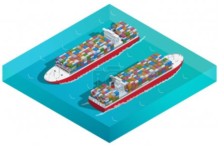 Container ship, Tanker or Cargo ship with containers icon. Flat 3d isometric high quality transport. Vehicles designed to carry large numbers of cargo