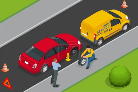 Roadside assistance car. Man changing wheel on a roadside. Auto service. Protection of car. Insurance accident car on road. Vector 3d flat isometric illustration