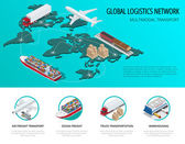 Global logistics network Flat 3d isometric vector illustration Set of air cargo trucking rail transportation maritime shipping On-time delivery Vehicles designed to carry large numbers of China cargo